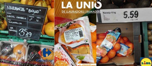 LA UNIÓ denuncia que supermercados tienen naranjas sudafricanas
