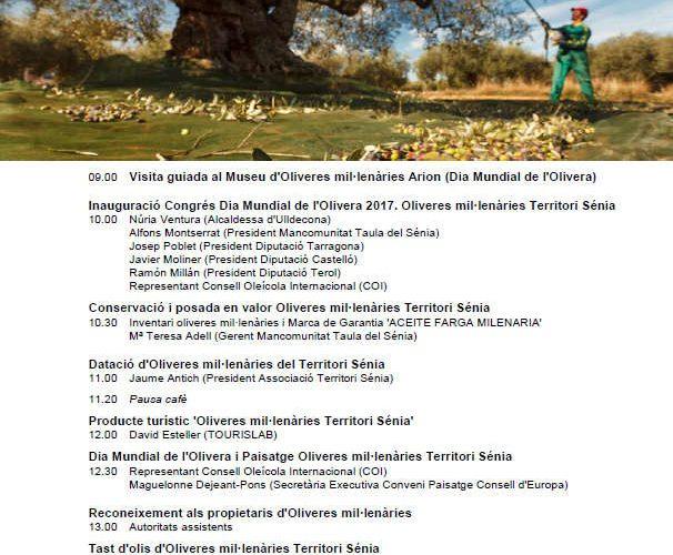 El Consell Oleícola Internacional celebra el 'Día Mundial de l'Olivera amb oliveres del Sénia