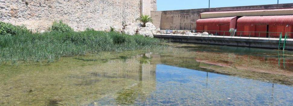 Suciedad en una balsa de agua junto a la explanada de la lonja de Peñíscola