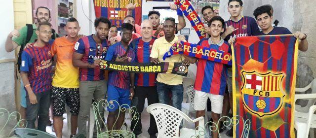 La Penya Barça de La Havana celebra amb vinarossencs la victòria al Bernabeu