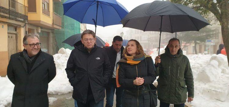 Ximo Puig i José Martí visiten Vilafranca per a conéixer els danys del temporal