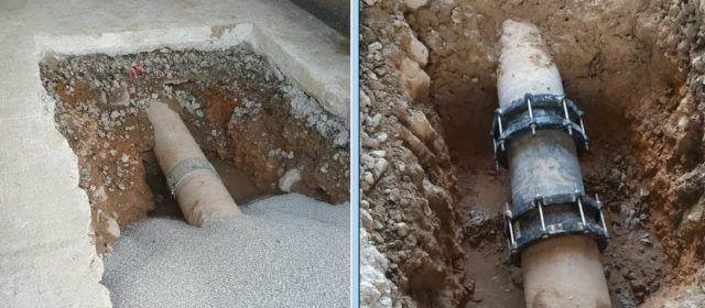 Reparada la prolongada fuga de agua en el puente de la N 340a en Vinaròs