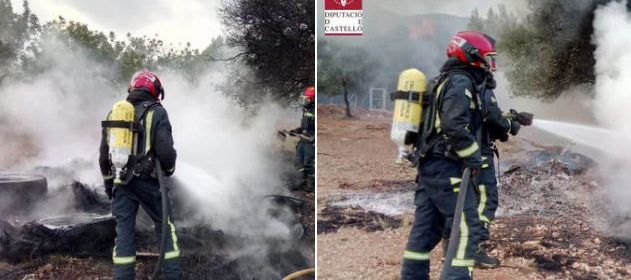 Incendio en el antiguo paint ball de Peñíscola
