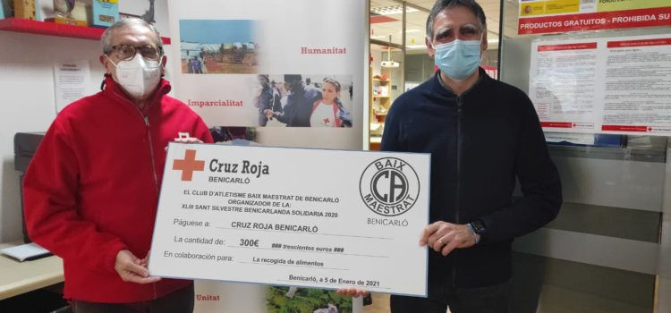 Cruz Roja Benicarló recibe la recaudación de la San Silvestre Virtual 2020