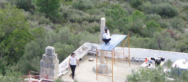 Fotos: restauració de la creu de terme de l'ermita d'Ulldecona