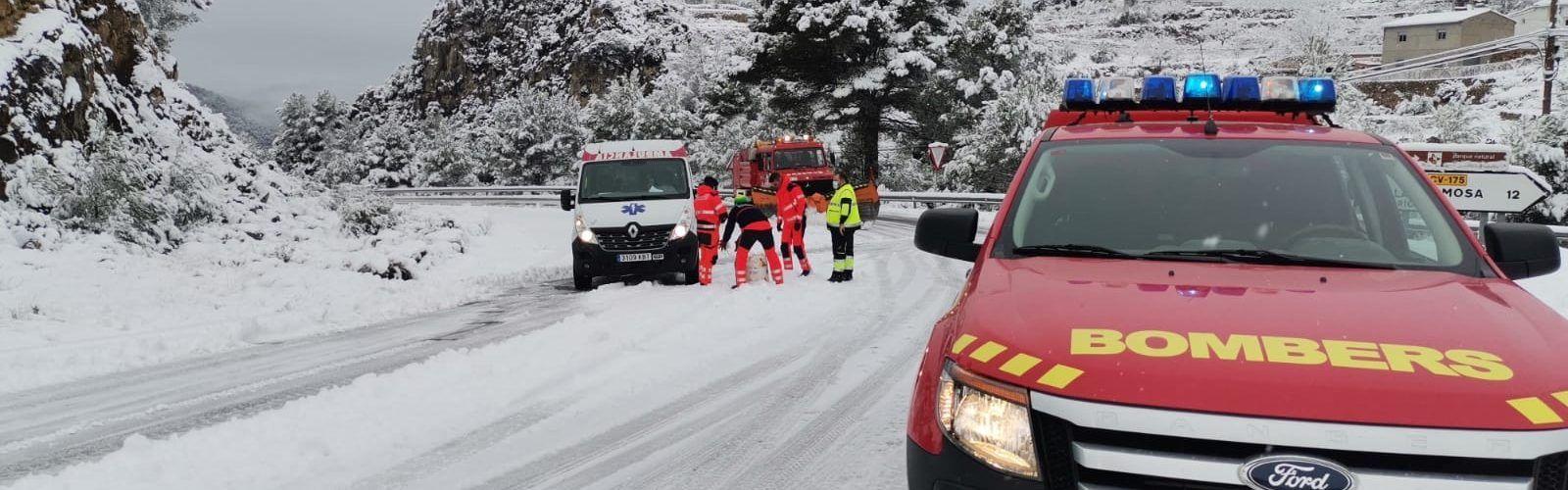 La Diputació i el Consorci de Bombers insten a no eixir a la carretera davant la preemergència de nivell roig per nevades