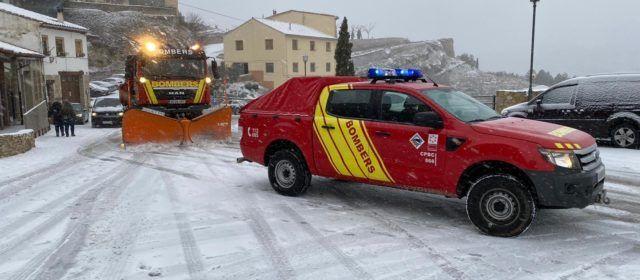 Primeros servicios de los bomberos por la borrasca Filomena