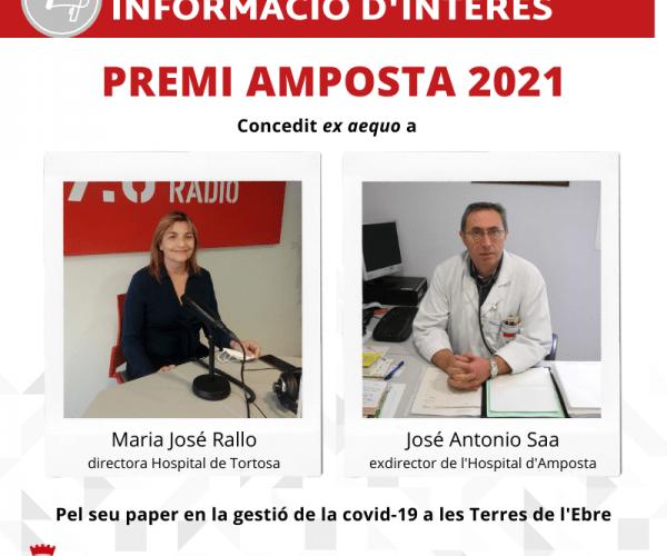 Els doctors Maria José Rallo i José Antonio Saa, Premi Amposta 2020